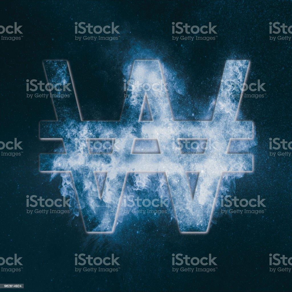 Korea Won symbol. Monetary currency symbol. Abstract night sky background. stock photo