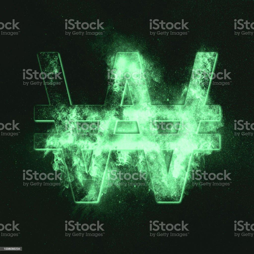 Korea Won symbol. Monetary currency symbol. Green symbol