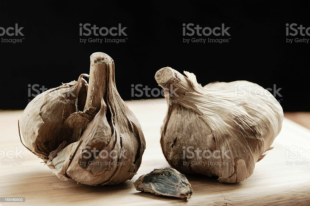Korean Aged Black Garlic stock photo
