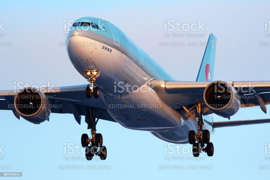 Korean Air Airbus A330-200 HL7539 landing at Sheremetyevo international airport. stock photo