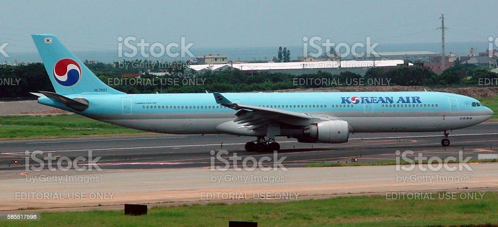 Korean Air Passenger Airplane Taxiing To Runway stock photo