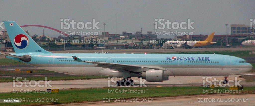 Korean Air Passenger Airplane Taxiing To Runway To Take Off stock photo