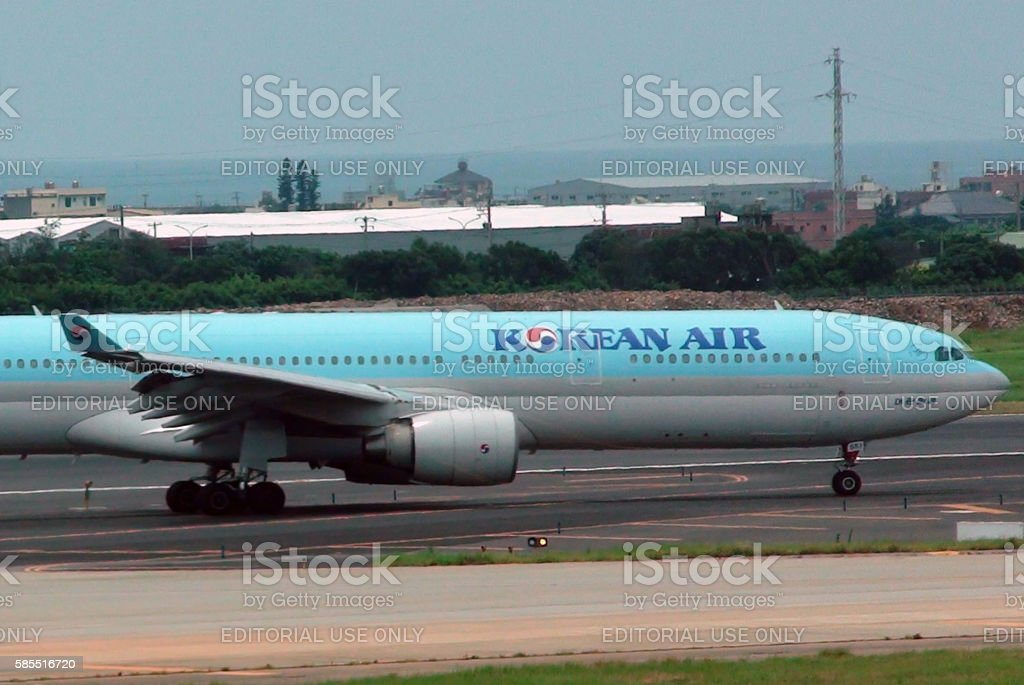 Korean Air Passenger Airplane Taxiing To Runway.Taipei stock photo
