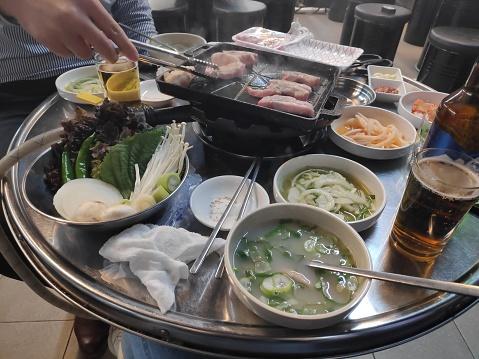 Korean barbecue table setting