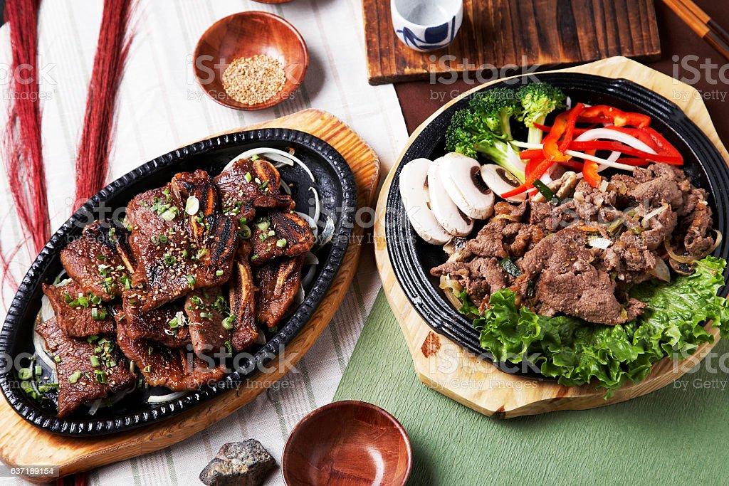 Korean BBQ, LA galbi and Bulgogi stock photo