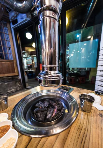 Korean BBQ Grill Street Food in Insadong, Seoul stock photo