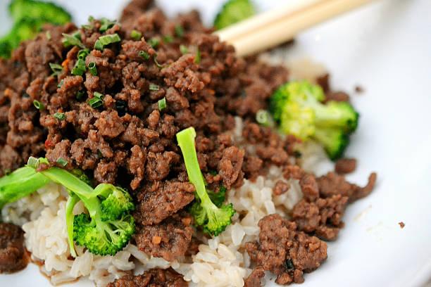 Korean beef bowl stock photo