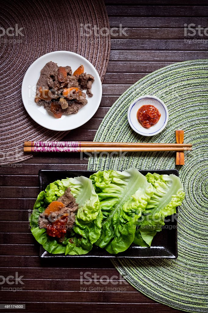 Korean Bulgogi with ssamjang sauce served with fresh lettuce stock photo