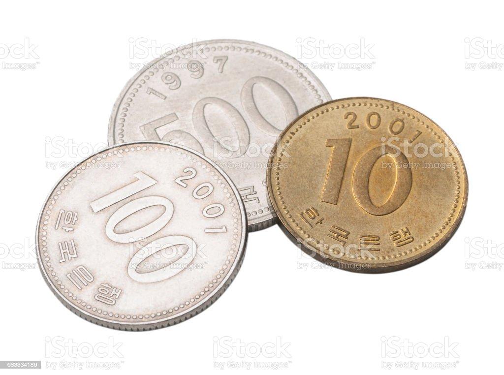 Korean coins won stock photo
