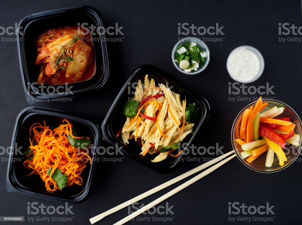Korean cuisine. Set of salads royalty-free stock photo