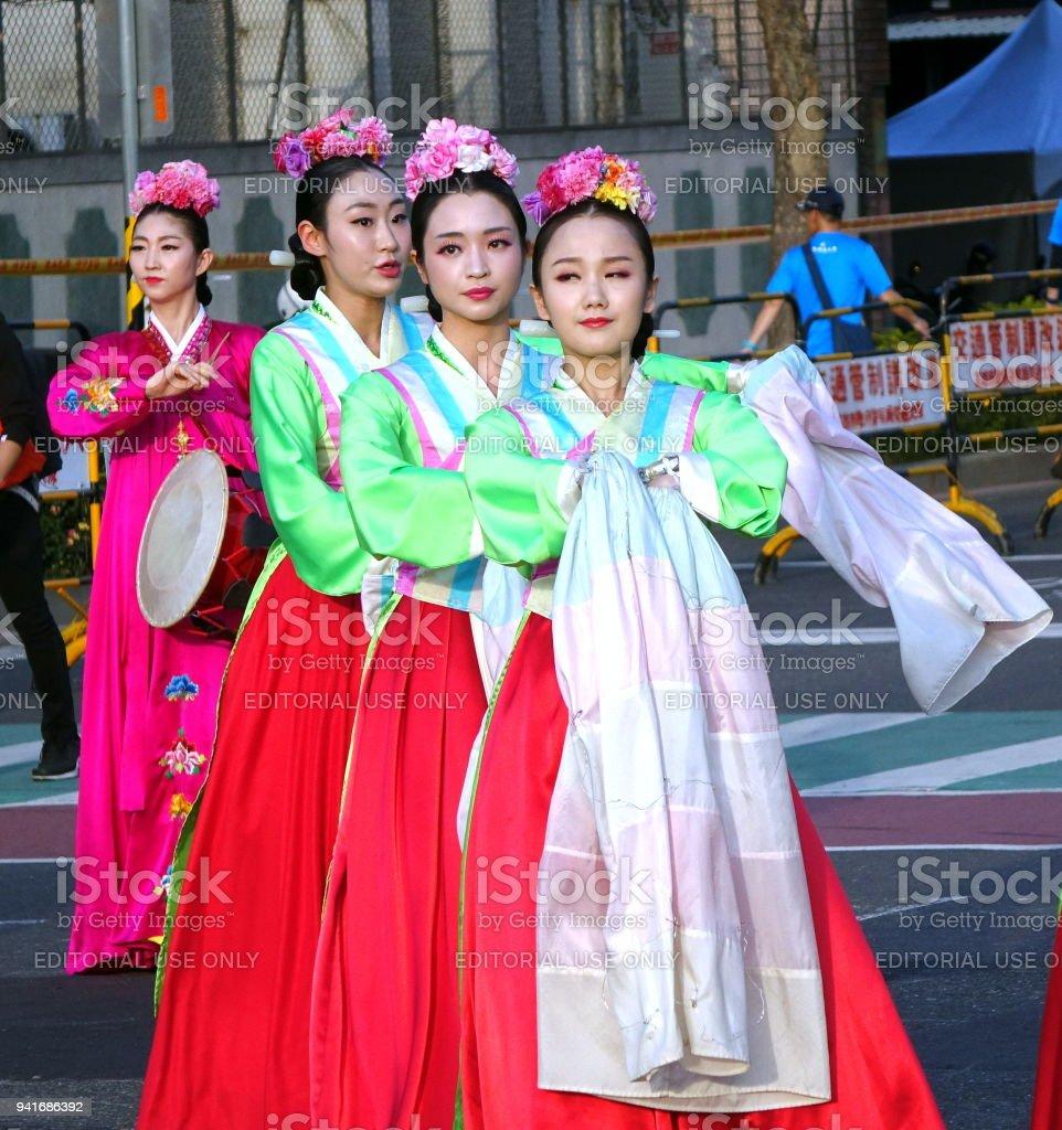 Korean Dancers Perform at the Lantern Festival stock photo