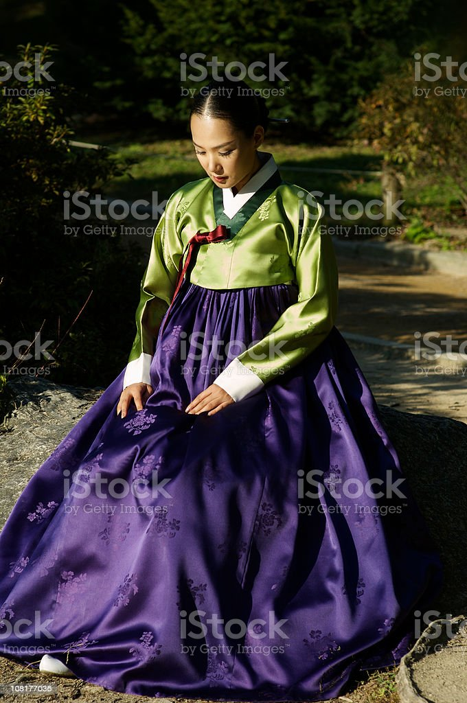 Korean female in Hanbok stock photo