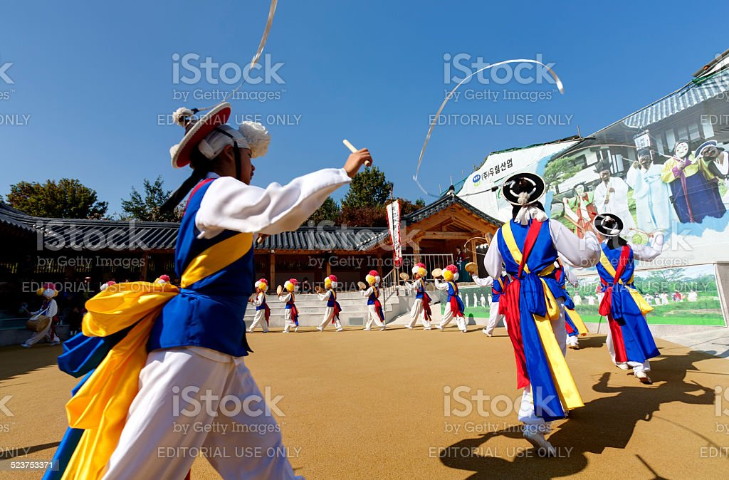 Korean folk dance stock photo