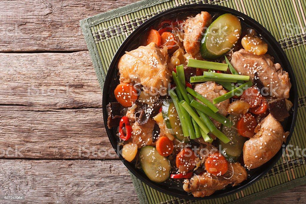 Korean food jjimdak: Stewed chicken with vegetables. Horizontal stock photo