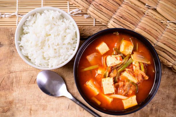 Korean food, Kimchi soup with fofu eating with cooked rice stock photo