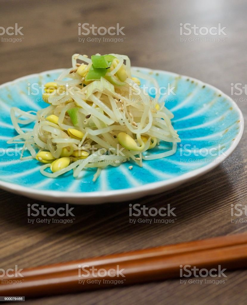 Korean food Seasoned Bean Sprouts, Mix bean sprouts stock photo