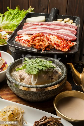 A gorgeous Korean cuisine table full of diverse side dishes.