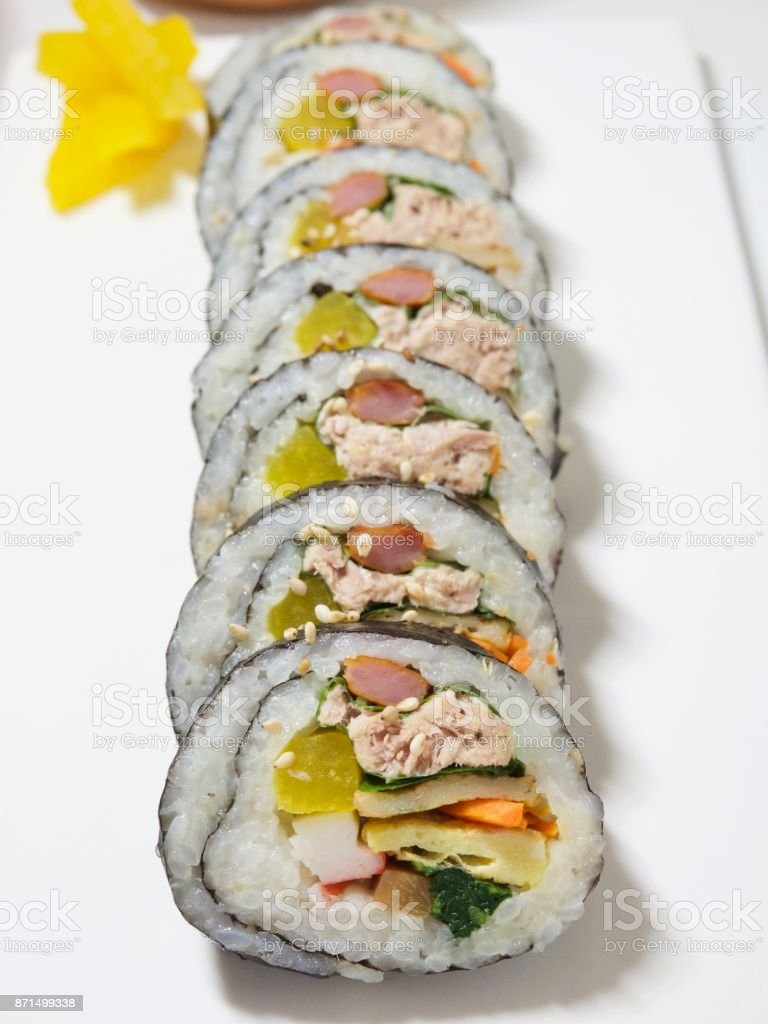 Korean food tuna kimbap stock photo
