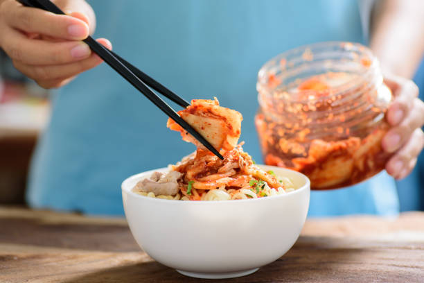 Korean food,instant noodle with kimchi cabbage stock photo