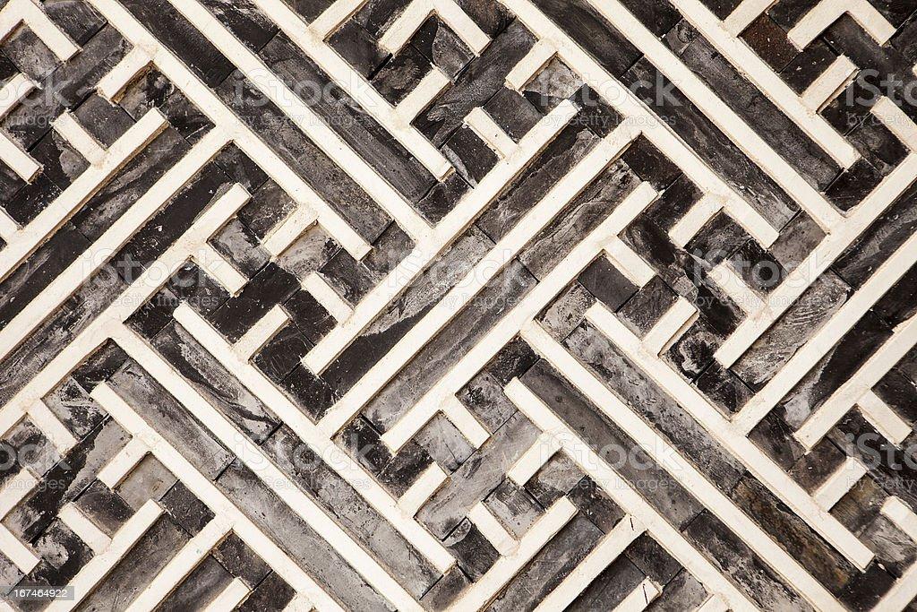 Korean Geometric Pattern In Wood royalty-free stock photo