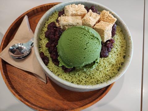 Korean green tea shaved ice