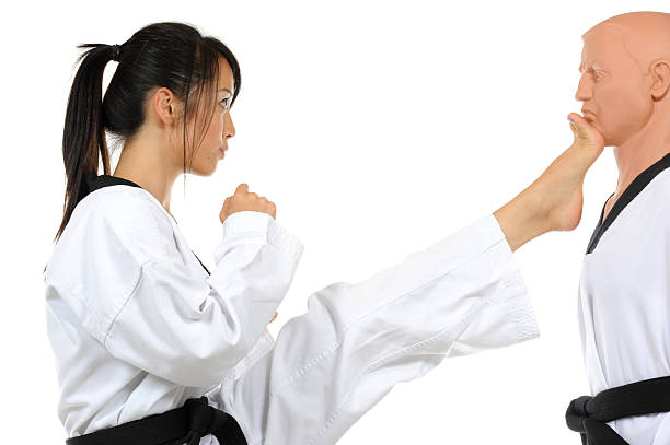 korean karate front kick - karate stock photos and pictures