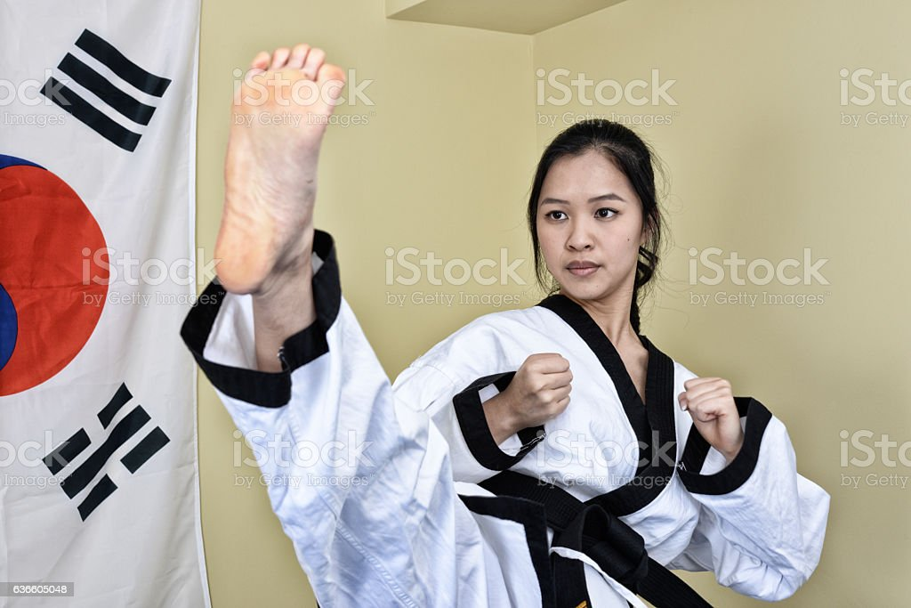 Korean Karate Indoor Practice stock photo