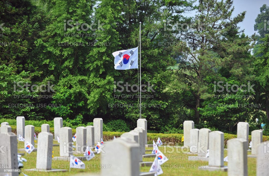 Korean memorial day, Taegeukgi stock photo