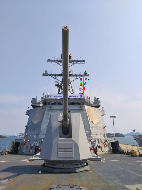 VH544 Korean Navy Aegis Destroyer DDG-992 South Korea, Jinhae Naval Base,June 22, 2019-- Filming the South Korean Navy Aegis destroyer, which was opened to citizens. aegis stock pictures, royalty-free photos & images