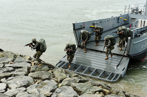 istock Korean Navy and Marine Corps is reenacting the Incheon Landing Operation 1035540726