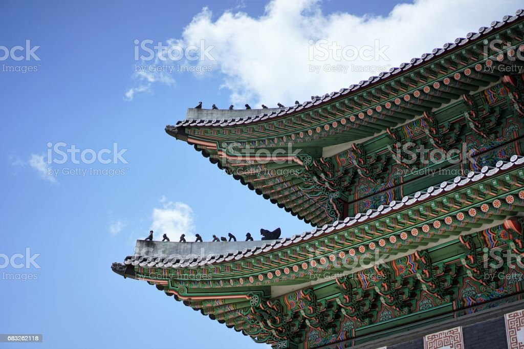 Korean Palace Ancient Roof foto de stock royalty-free