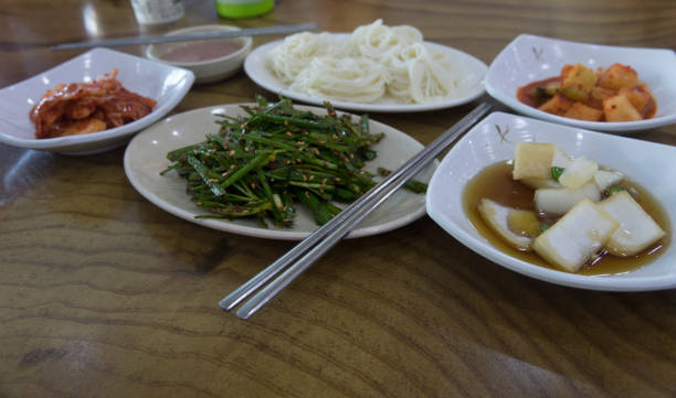 korean pickled side dishes or appetiser - appetiser stock photos and pictures