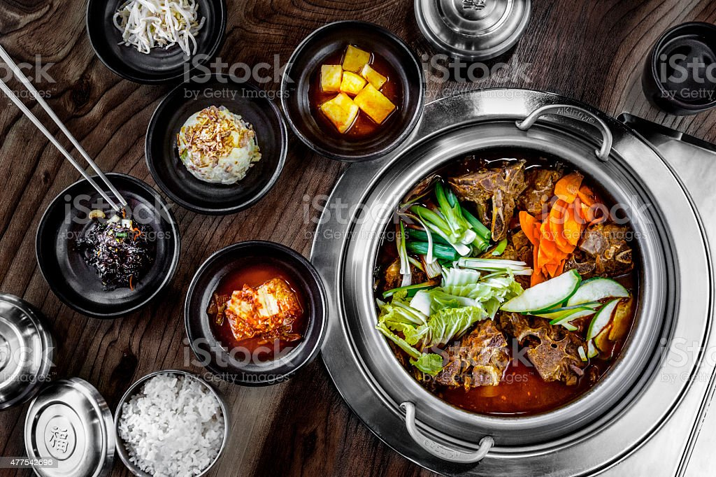 Korean Pork Bone Hot Pot Soup stock photo