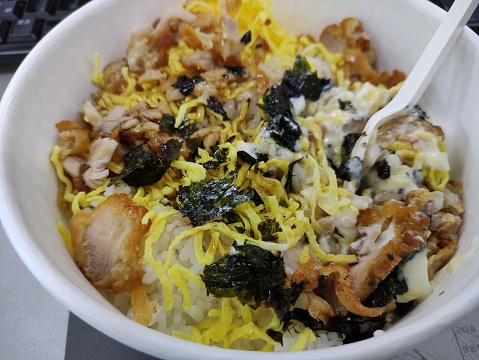 Korean rice topped woth chicken and mayonnaise