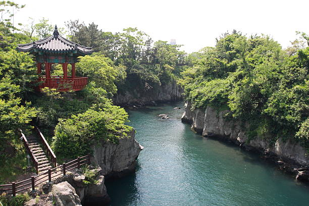 korean river - jeju island stock photos and pictures