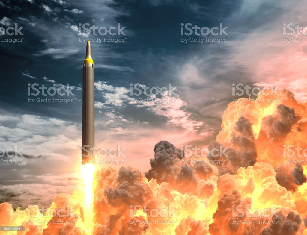 Korean Rocket Takes Off In The Clouds Of Fire stock photo