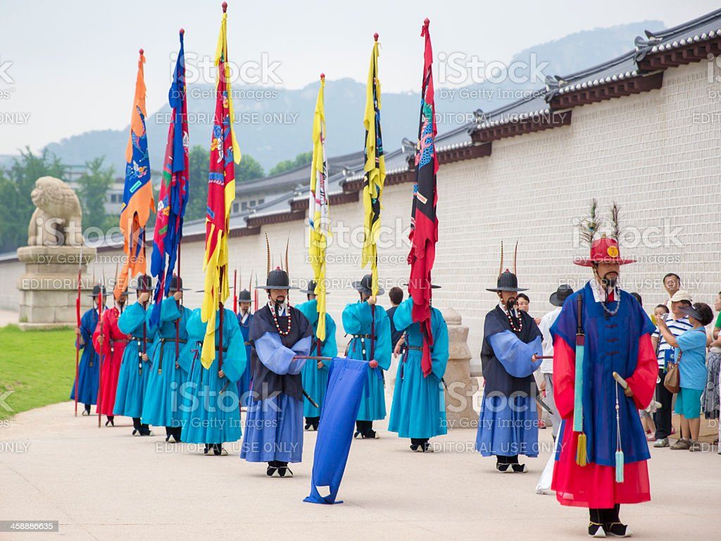 Korean Royal Guards at Gwanghwamun royalty-free stock photo