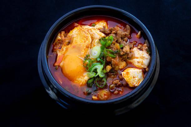Koreanska kryddig silken tofu gryta bildbanksfoto