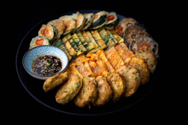 Koreanska stil Diverse salta pannkakor bildbanksfoto