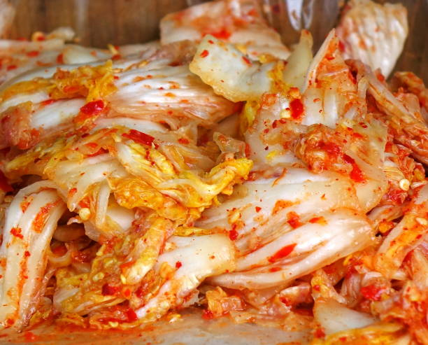 Korean Style Fermented Spicy Cabbage stock photo