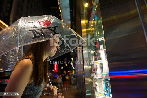 458128003 istock photo Korean tourist window shopping in Times Square, New York City 637166724