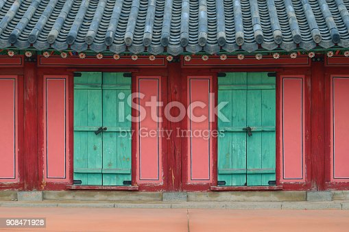 A view of a hanok with a visit