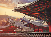 Roofs of old palace in Seoul, capital of South Korea