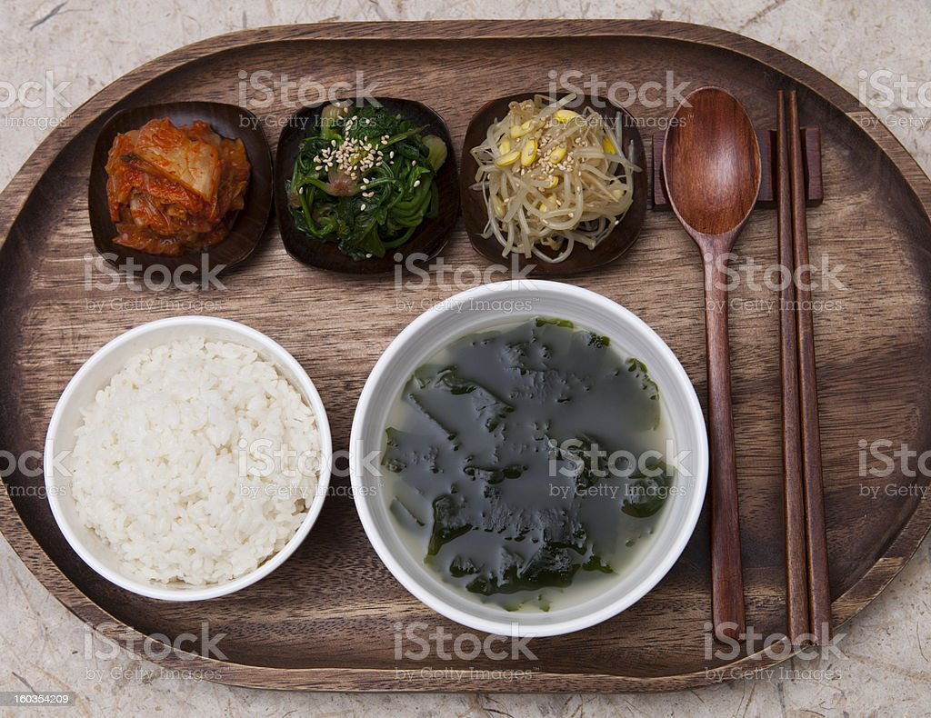 Korean traditional dining table stock photo