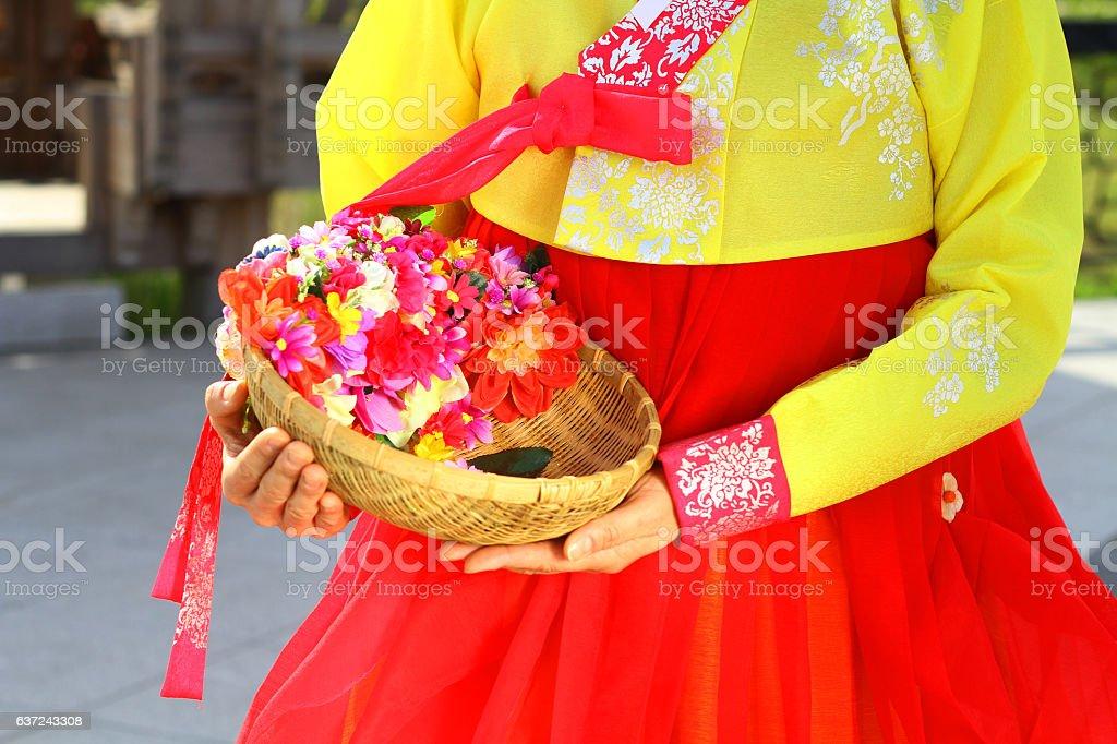 Korean traditional dress background. stock photo
