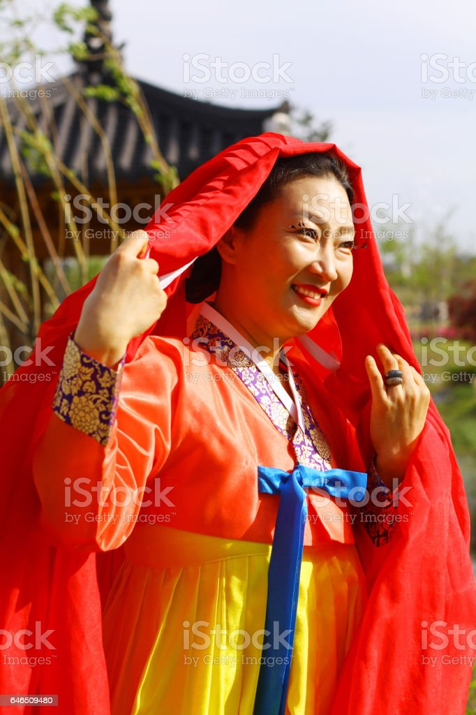 Korean traditional dress background. stock photo