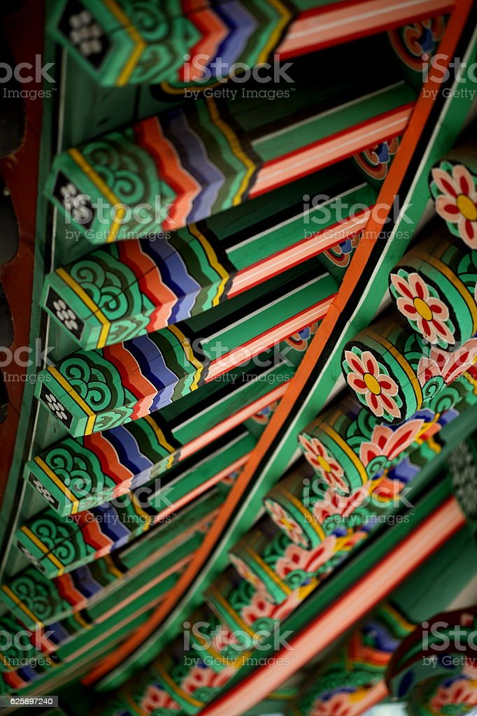 korean traditional eaves,Jeondeungsa Temple stock photo