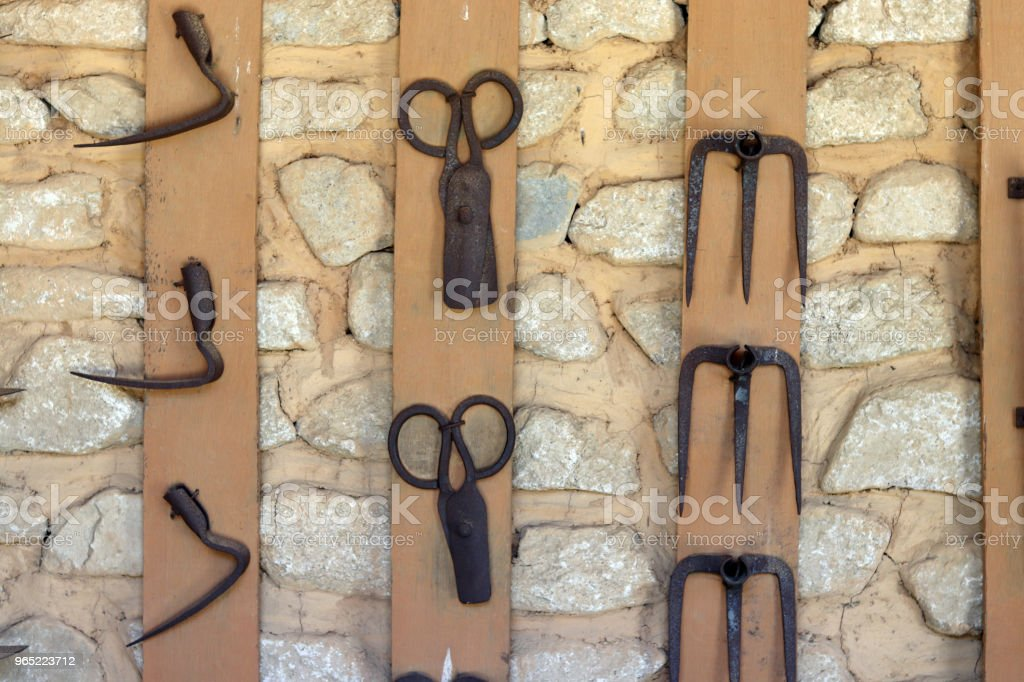 Korean traditional farming tools hanging on the wall. zbiór zdjęć royalty-free