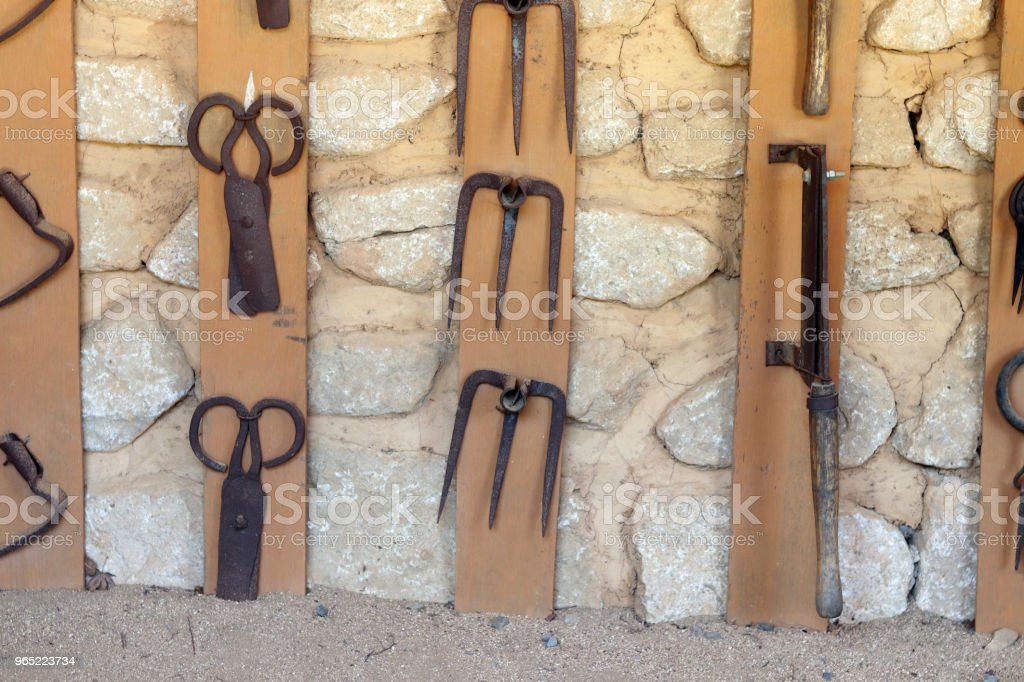 Korean traditional farming tools hanging on the wall. royalty-free stock photo