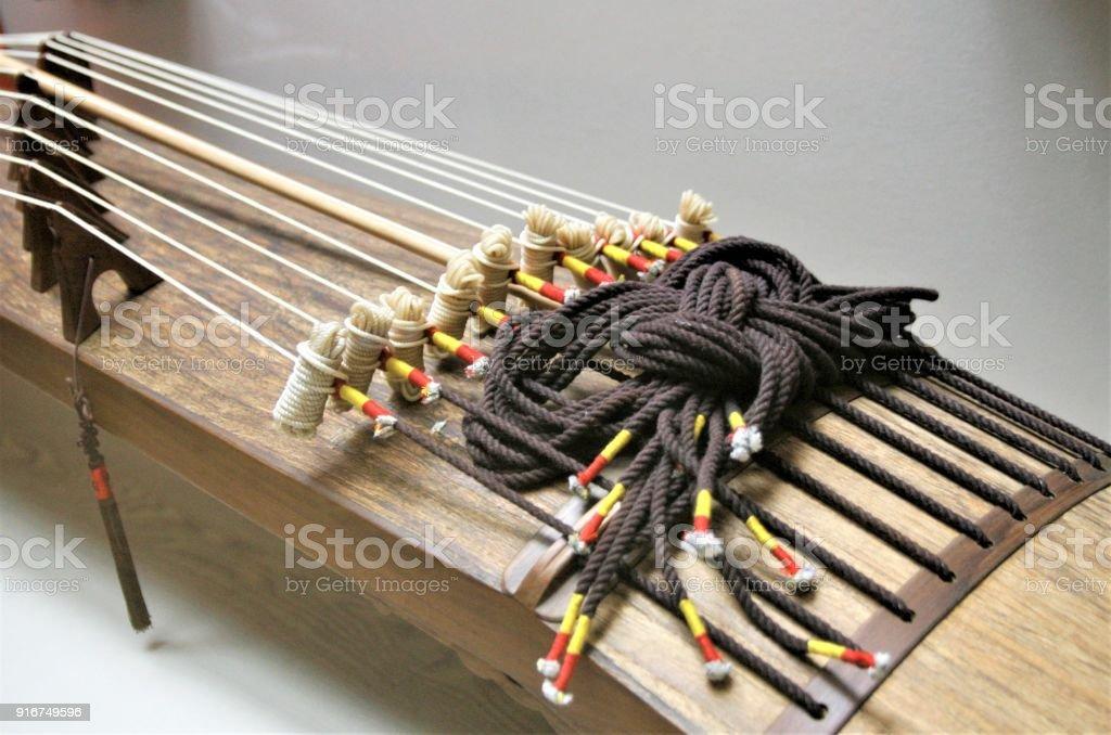 Korean traditional instrument ten strings Daeajaeng stock photo